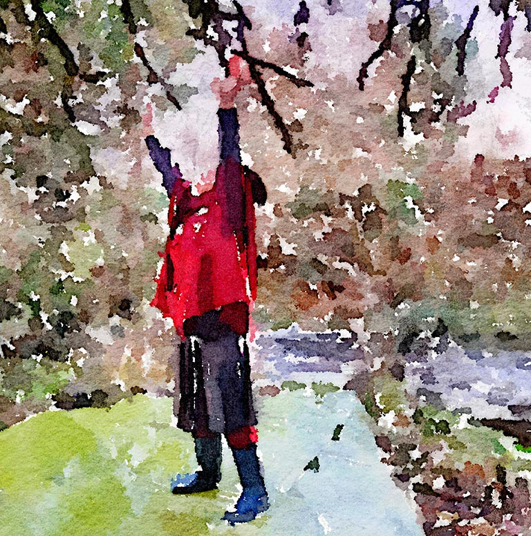 Watercolour painting of woman standing reaching up with her arms.