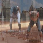 four dancers superimposed on a a picture of tall buildings